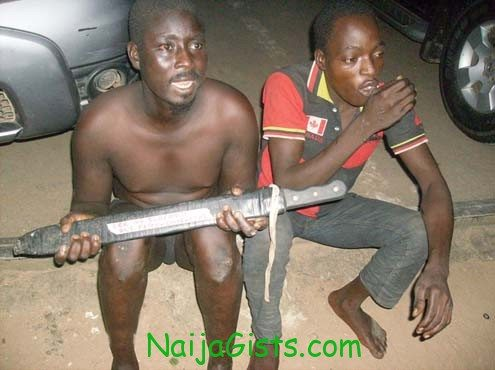 The suspects that attempted to slaughter an Okada man detained at the Special Anti-Robbery Squad (SARS), Ikeja, Lagos