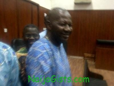 Baba Suwe celebrating in court after Justice Yetunde Idowu ordered NDLEA to pay him N25m as damages
