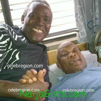 Enebeli elebuwa with Olu jacobs at hospital