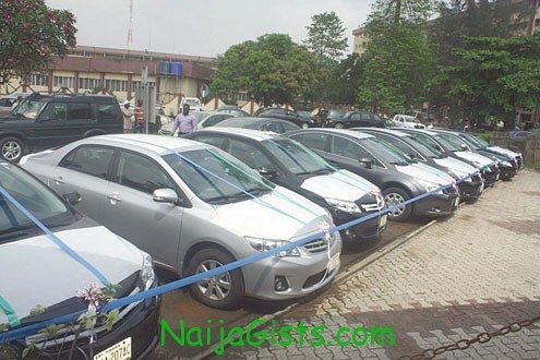 The brand new cars parked at the Lagos State secretariat before presentation to the traditional rulers