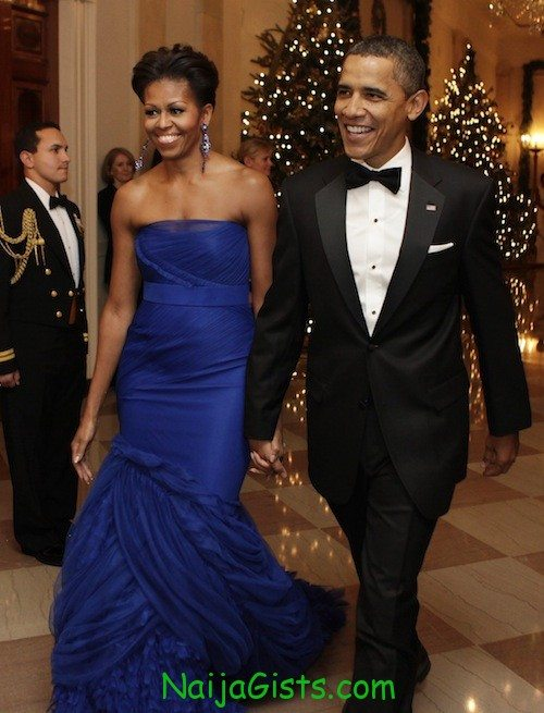 President Barack Obama and first lady Michelle Obama arrive at the Kennedy Center Honors reception
