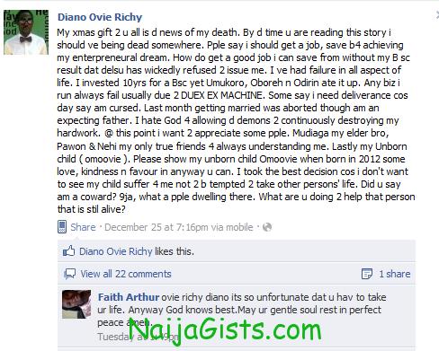 nigerian man threatens to kill himself on christmas day