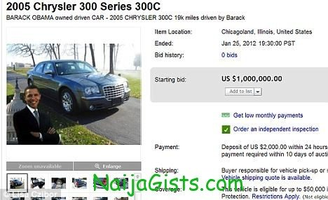 President obama former car offered for sale on ebay