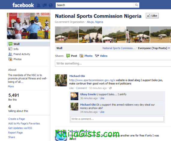 nigeria national sport commision spent 1.2 million to open facebook account