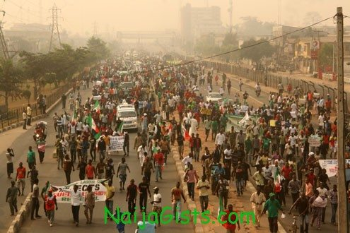fuel subsidy removal protesters in abuja nigeria