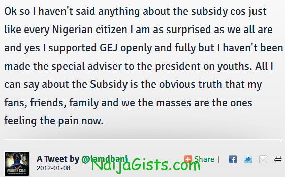 dbanj tweet and comment on fuel subsidy removal