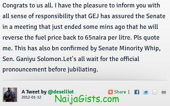 president jonathan reverses fuel price to 65 naira per litre