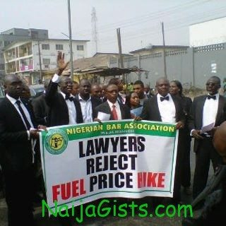 lawyers protesting fuel price hike