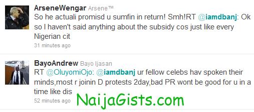response to dbanj tweets