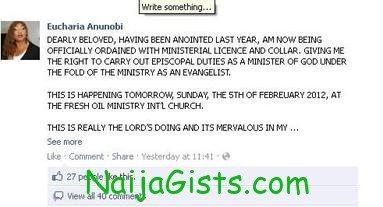 eucharia anunobi ordained a pastor