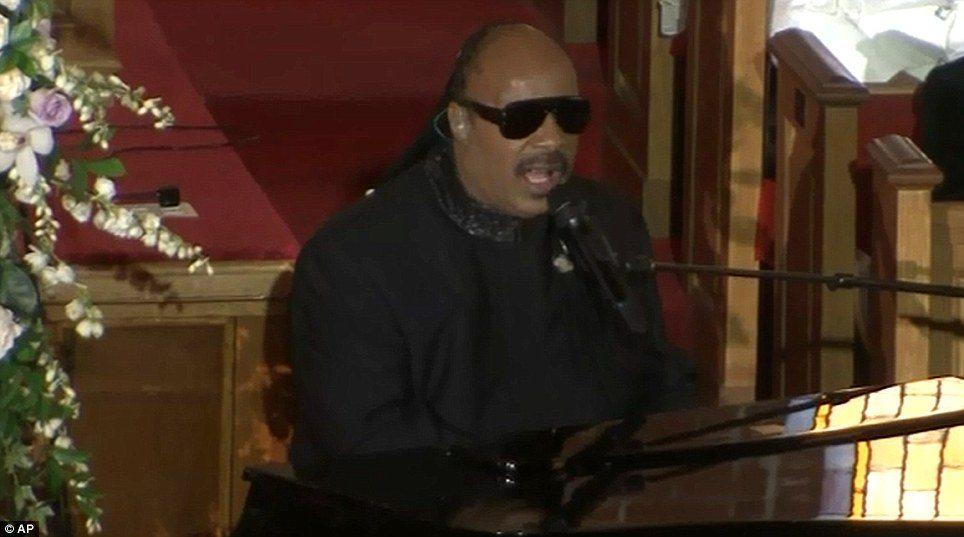 Stevie Wonder at Whitney Houston Funeral