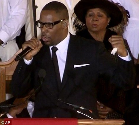 R Kelly at Whitney Houston's Funeral