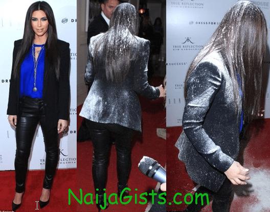 kim kardashian flour bombed on the red carpet