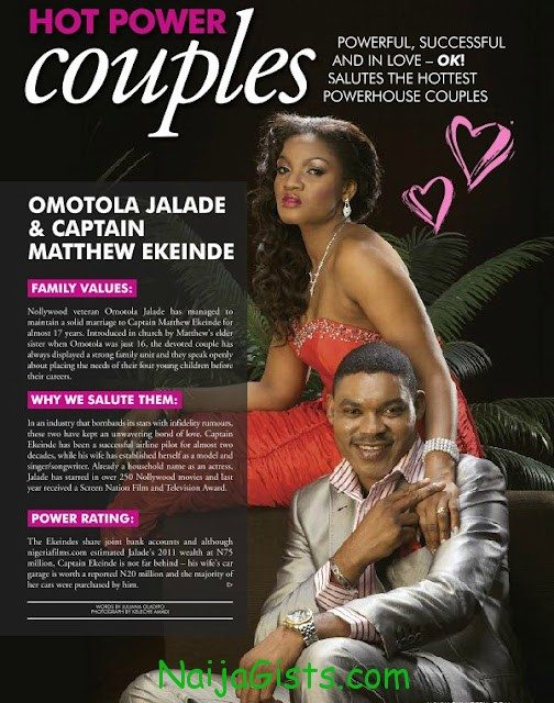 omotola jalade ekeinde and husband ok magazine nigeria