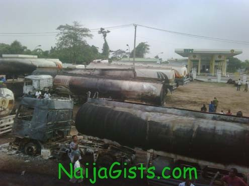 Trucks gutted by fire in Ibadan this morning