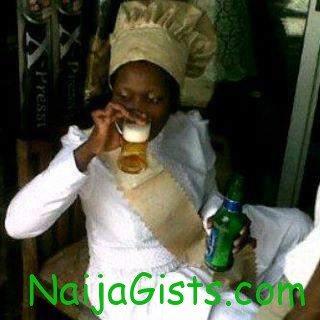 prophetess drinking bottle of beer