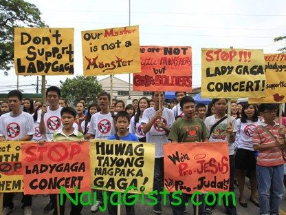 lady gaga concert protest phillipines