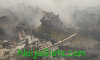 wreckage of the crashed dana airplane in lagos today