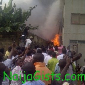 scene from lagos state plane crash on sunday