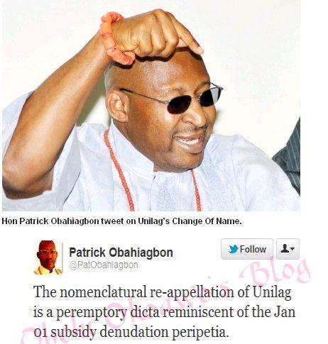 hon patrick obahiagbon on unilag name change