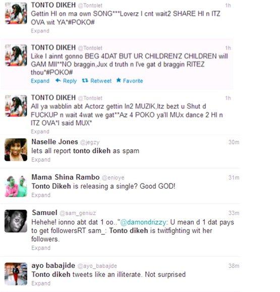 tonto dikeh fights twitter fans
