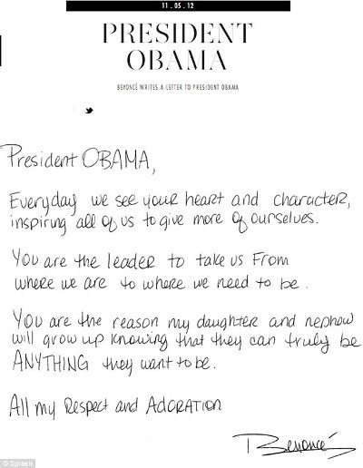 beyonce open letter to obama