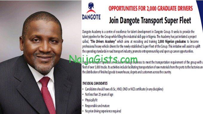 dangote phd mba holders driving jobs