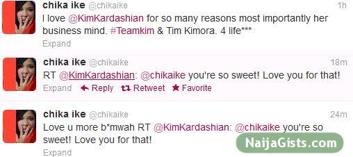 kim kardashian and chika ike tweets