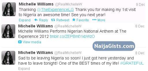 michelle williams visits nigeria