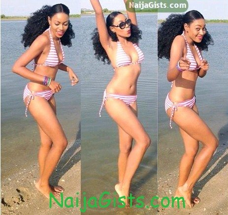 yvonne nelson in bikini beach