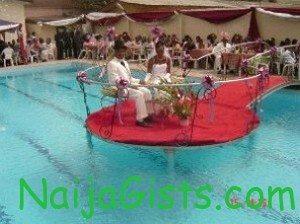 nigerian couple wedding reception pool