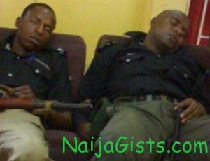 lagos policemen sleeping on duty