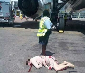 air hostess falls out plane uganda
