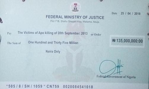 apo abuja dss killings victims N135million compensation