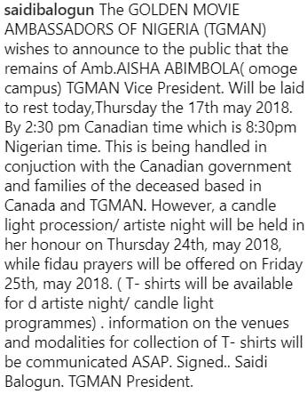 aisha balogun burial