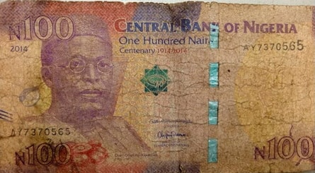 dirty 100 naira note