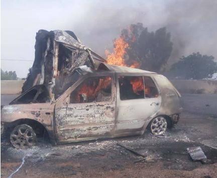 taxi caught fire kaduna