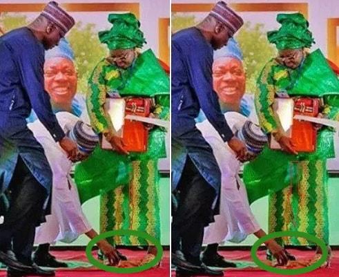 buhari bends knee pick item fawehinmi wife