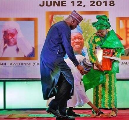 buhari bends knee pick item fawehinmi wife_