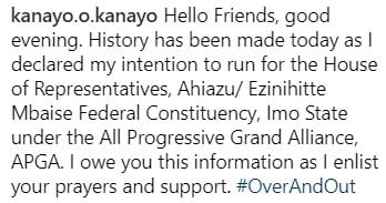 kanayo running house of rep
