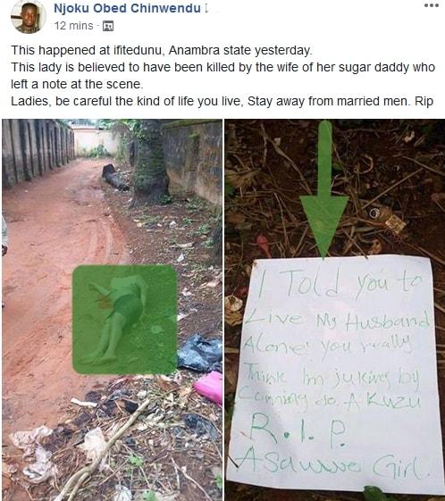lady killed by sugar daddy's wife anambra