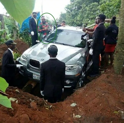 nigerian buries father bmw