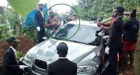 nigerian man buries father bmw x5 coffin anambra state