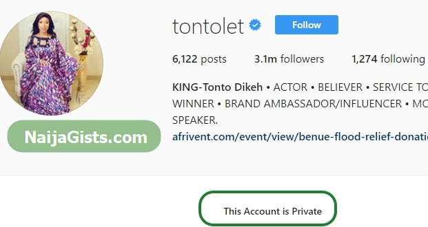 tonto dikeh instagram private