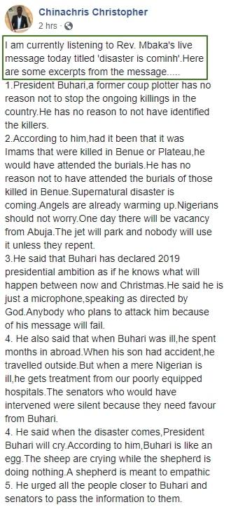 mbaka curses buhari