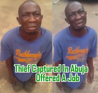 thief captured abuja offered job