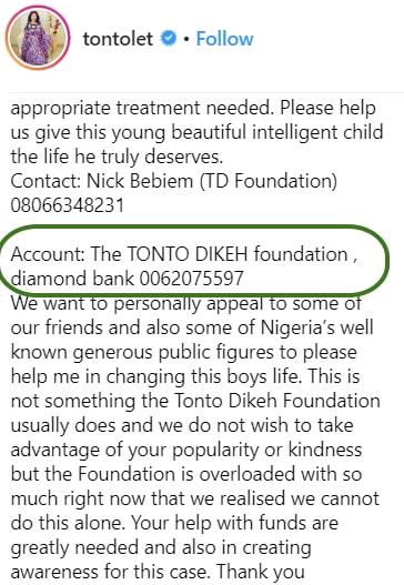 tonto dikeh foundation bank account number