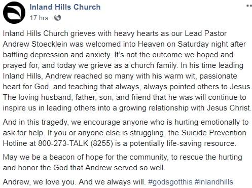 depressed pastor commits suicide california