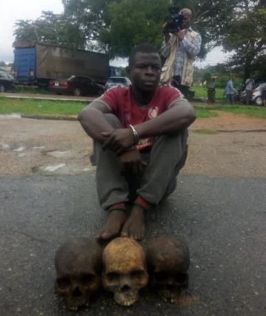 man caught with 3 human skulls ibadan