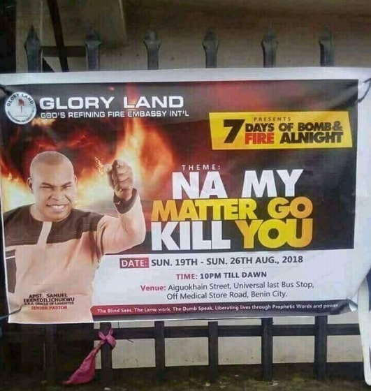 na my matter go kill you church poster